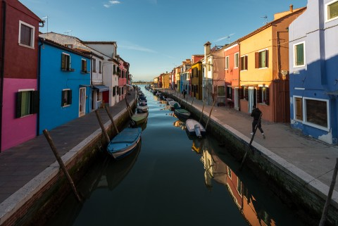 Isla de Burano en Venecia, Italia