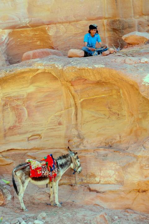 Beduino y su asno hacen fuego en Petra, Jordania