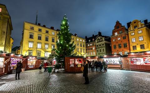 Plaza Stortorget en Navidad, Estocolmo, Suecia